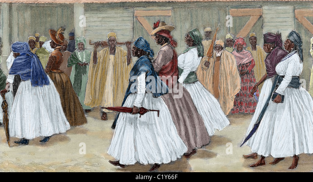 Africa. Sierra Leone. Funeral procession. Colored engraving 1880. - Stock Image