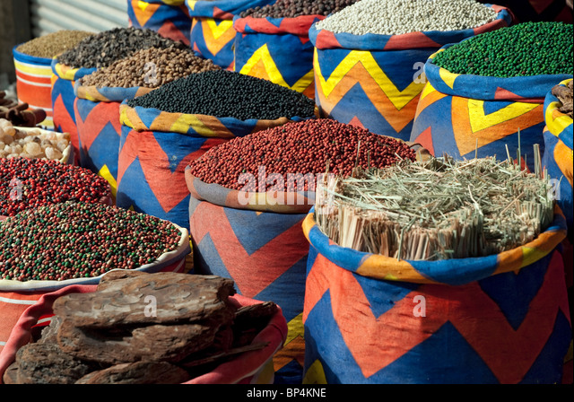 Spices for sale, Dahar Quarter, Hurghada, Red Sea, Egypt - Stock Image