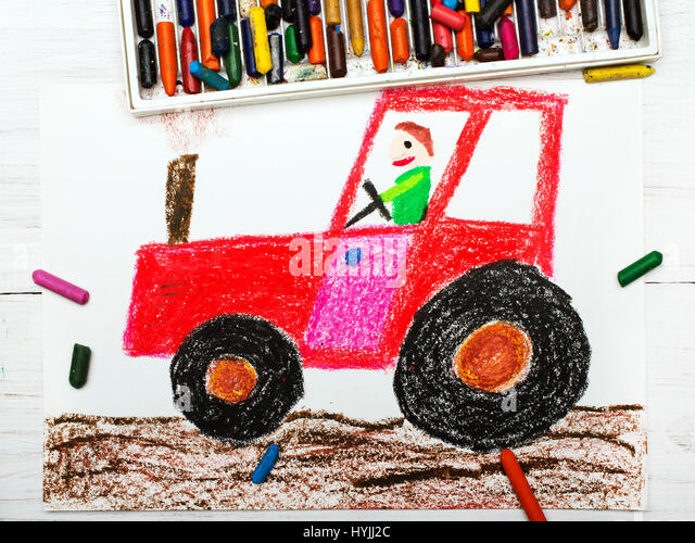 Drawing Man On Tractor : Drawing of a tractor stock photos