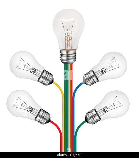 Different Bright New Ideas Concept -Lightbulbs attached to lines of colored cables isolated on white background - Stock Image