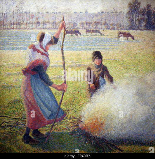 Peasant Girl Lighting a Fire. Frost. by Camille Pissarro 1888. - Stock Image
