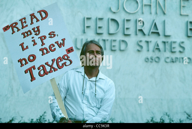 A Demonstrator outside the United States Federal Building in Sacramento, CA during the first annual Taxpayer's Action - Stock Image