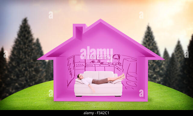 Composite image of well dressed young woman sleeping on sofa - Stock Image