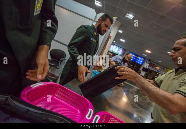 security check, Zahedan airport, Iran - Stock Image