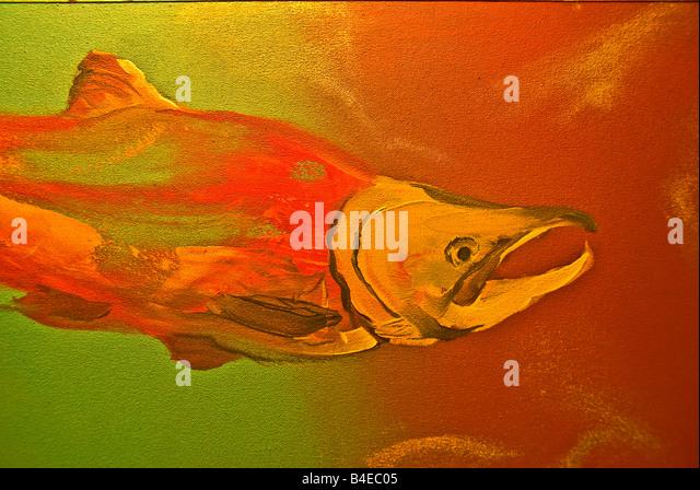 Shopping salmon painting Fairmont Jasper Park Lodge Canada popular winter sports destination - Stock Image
