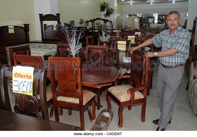 Santo Domingo Dominican Republic Ciudad Colonia Mercado Modela market furniture store business dining room set suite - Stock Image