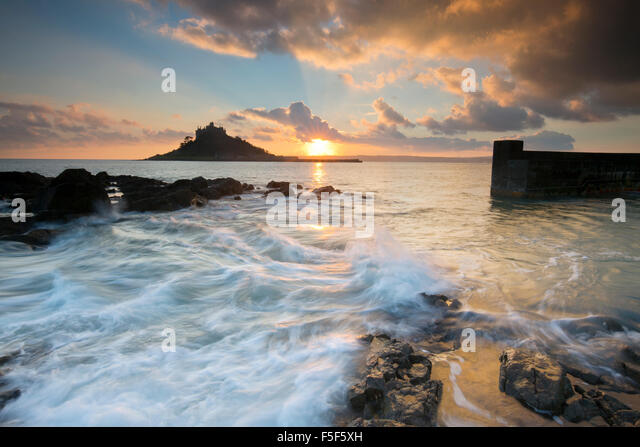St Michael's Mount; Mount from Marazion at Sunset Cornwall; UK - Stock Image
