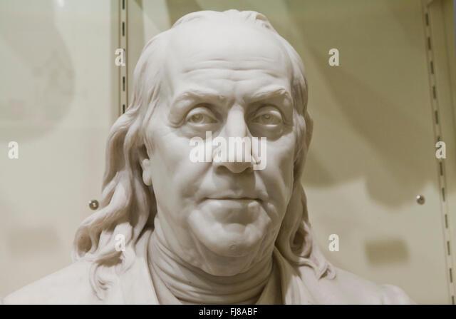 Closeup of Benjamin Franklin marble sculpture  - USA - Stock Image