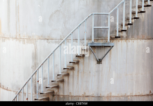Water Tank Stairs : Oil storage tanks with stairs stock photos