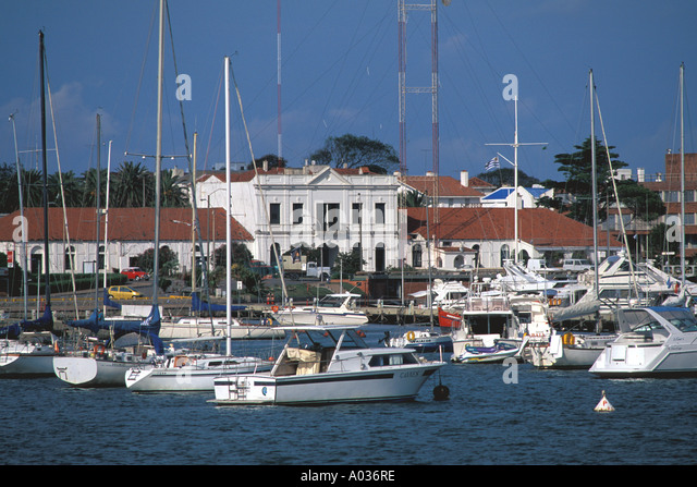 Uruguay Punta Del Este yachts sailboats playground for rich and famous of south america - Stock Image