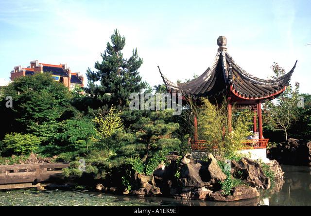 Vancouver Canada Sun Yat Sen Gardens pagoda - Stock Image