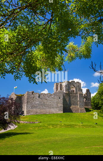 Oystermouth Castle, Mumbles, Gower, Wales, United Kingdom, Europe - Stock Image