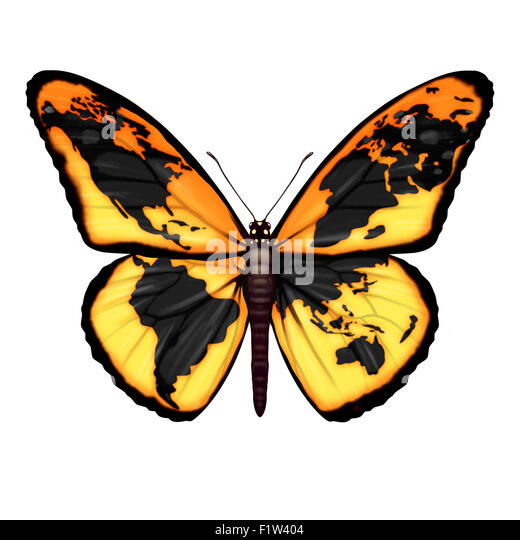 Global Butterfly symbol for the environment or migrant refugee crisis escaping to freedom from world crisis zones - Stock Image