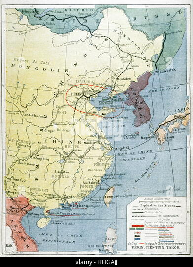 Map showing European presence in China during the Boxer Uprising or Yihequan Movement. - Stock Image