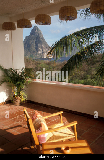 St Lucia saint lucia view of the pitons from Anse Chastanet Resort - Stock Image