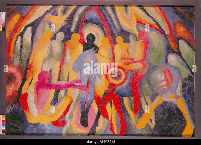 'fine arts, Morgner, Wilhelm (1891 - 1917), painting, 'Einzug in Jerusalem', 1912, Museum am Ostwall, - Stock Image