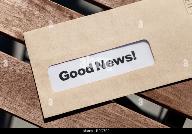 Good News and envelope, concept of success - Stock Image