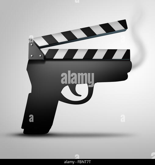 Movie violence concept or crime flick concept as a clapperboard or movie slate board shaped as a gun as a symbol - Stock-Bilder