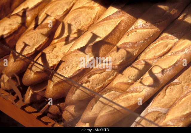 North America, Canada, Quebec, Montreal. French baguettes, Bakery on Boulevard Saint, Laurent - Stock Image