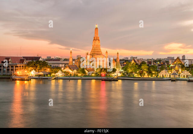 Wat Arun in night ,Bangkok city ,Thailand - Stock Image