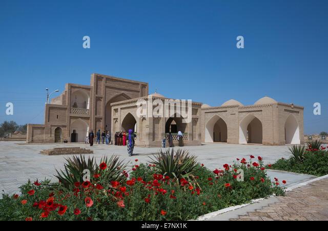 Archaeological Site, Hoya Yusuf, Mausoleum, Merv, Turkmenistan, Central Asia, Asia, amapola, architecture, flowers, - Stock Image