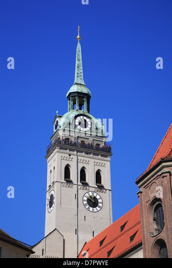 Tower of  St. Peter Kirche, St. Peter Church, Munich, Bavaria, Germany - Stock-Bilder