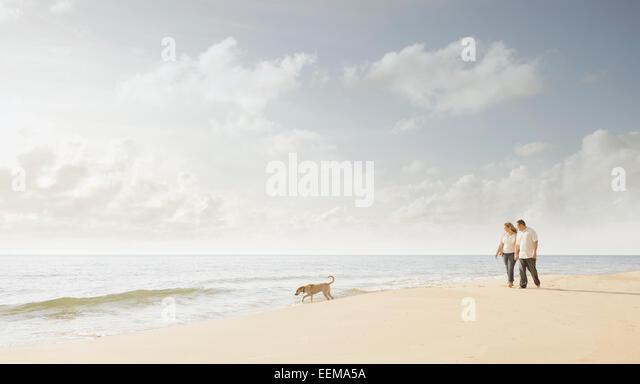 Caucasian couple walking dog on beach - Stock Image