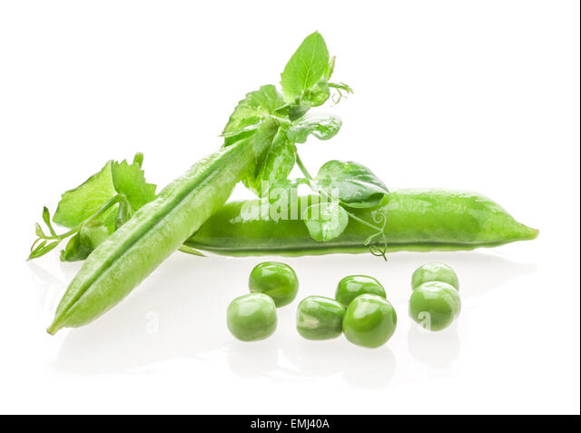 Pod of green peas with leaves on white background - Stock Image