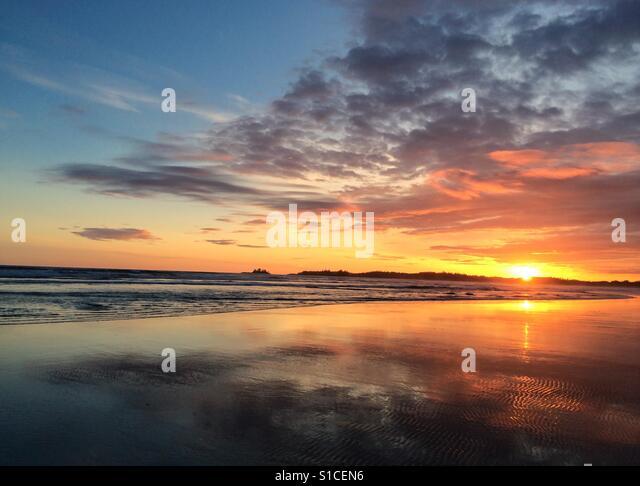Sunset on Long Beach, Tofino, BC - Stock-Bilder