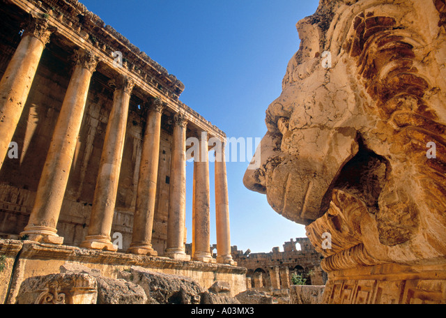 Temple of Bacchus, Baalbek, Bekaa Valley, Lebanon - Stock Image