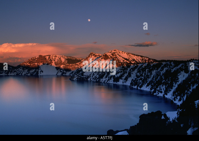 Crater Lake in late spring Oregon - Stock Image