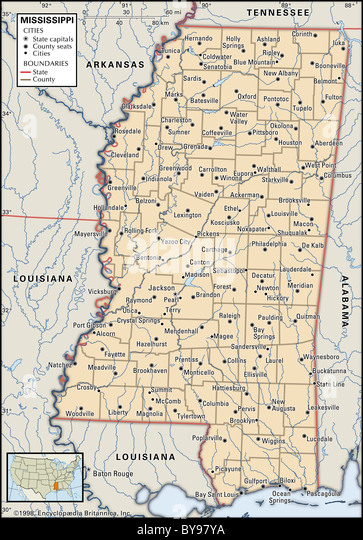 Political map of Mississippi - Stock Image
