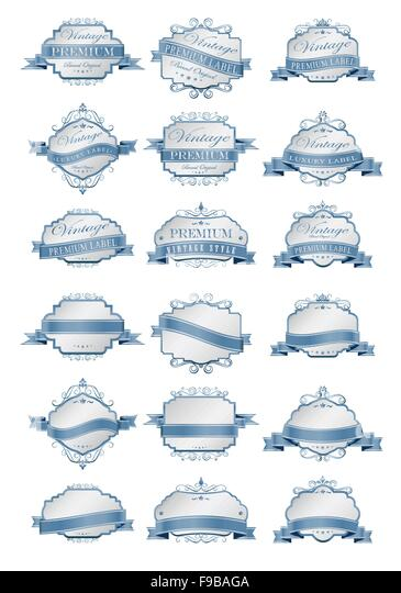 Luxury soft blue labels and blank labels template - Stock Image