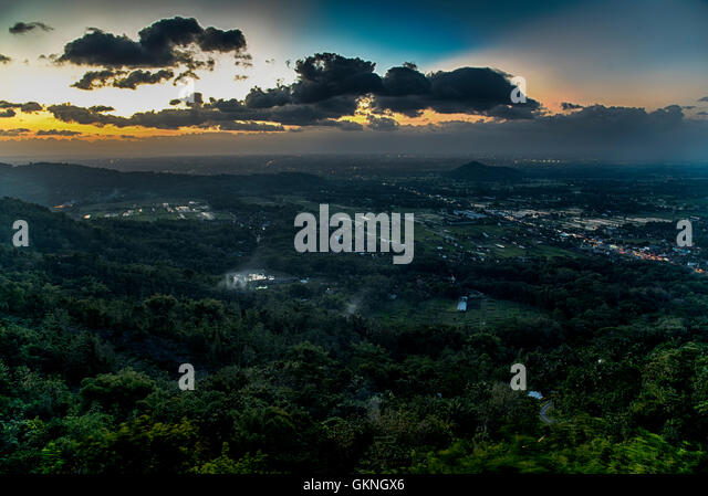 Aerial view of Yogyakarta  from Bukit Bintang, Jawa, Indonesia - Stock Image