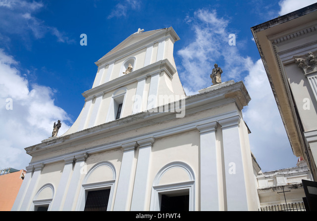 Cathedral of San Juan, Puerto Rico Island, West Indies, Caribbean, United States of America, Central America - Stock Image