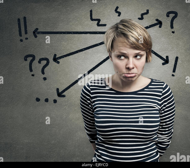 Illustration of a young woman in doubt, confusion concept - Stock Image