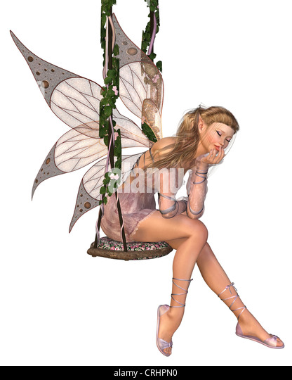 Pretty Pink Fairy Daydreaming on a Swing - Stock Image