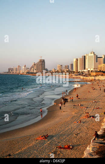 Beach, Tel Aviv, Israel, Middle East - Stock Image