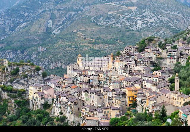 Saorge village, Roya Valley, Alpes-Maritimes, France, Europe - Stock Image