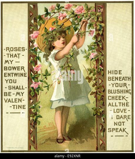 Girl in Wide Hat Tending Roses, Valentine, Postcard - Stock Image
