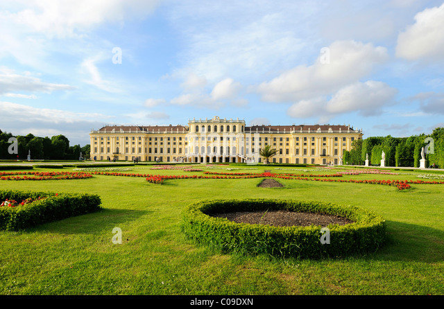 View from the park at Schoenbrunn Palace, Vienna, Austria, Europe - Stock Image