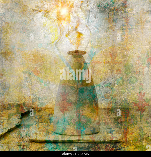 Alchemical vessel releasing vapor. Photo based illustration. - Stock Image