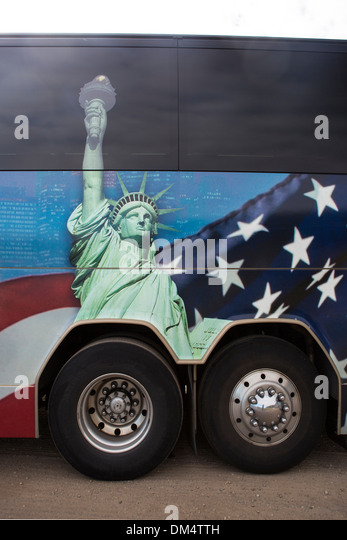 USA, United States, America, America, bus, concepts, flag, image, liberty, painting, statue, travel, wheels - Stock-Bilder