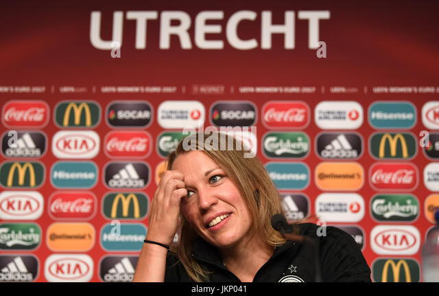 Germany's Kristin Demann pictured after a UEFA press conference at the stadium in Utrecht,the Netherlands, - Stock Image