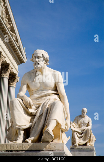 Vienna - philosopher statue for the Parliament - Thicydides - Stock Image