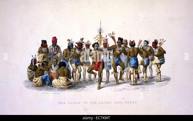 War dance of the Sauks and Foxes from a painting by P. Rindisbacher - Stock Image