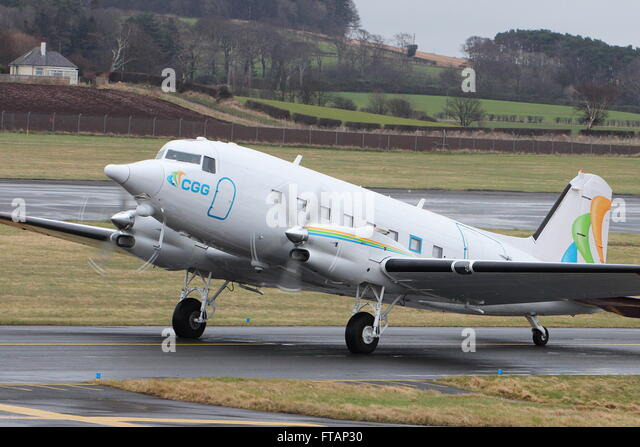 C-GGSU, a Basler BT-67 (a converted Douglas DC-3/C-47) operated by CGG Aviation, at Prestwick International Airport. - Stock Image