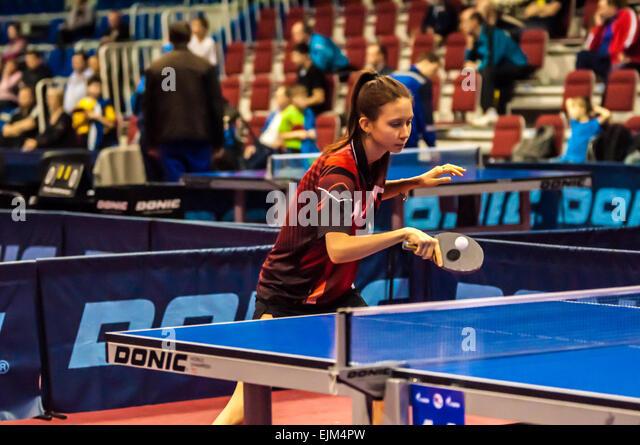 ORENBURG, ORENBURG region, RUSSIA - 5 February 2015: Girl playing table tennis at the tournament strongest sportsmen - Stock Image