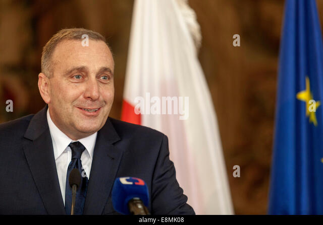 Prague, Czech Republic. 10th October, 2014 Grzegorz Schetyna, Minister of Foreign Affairs of Poland during a press - Stock Image