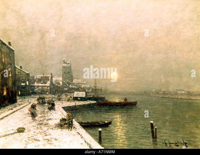 'fine arts, Jungblut, Johann, (1860 - 1912), painting, 'Winter in Düsseldorf', Wimmer gallery, - Stock-Bilder